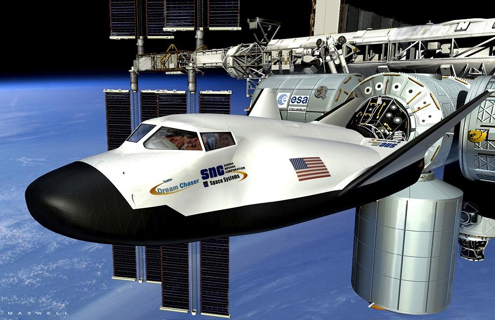 Концептуальная схема космического самолета Dream Chaser, пришвартованного к Международной космической станции